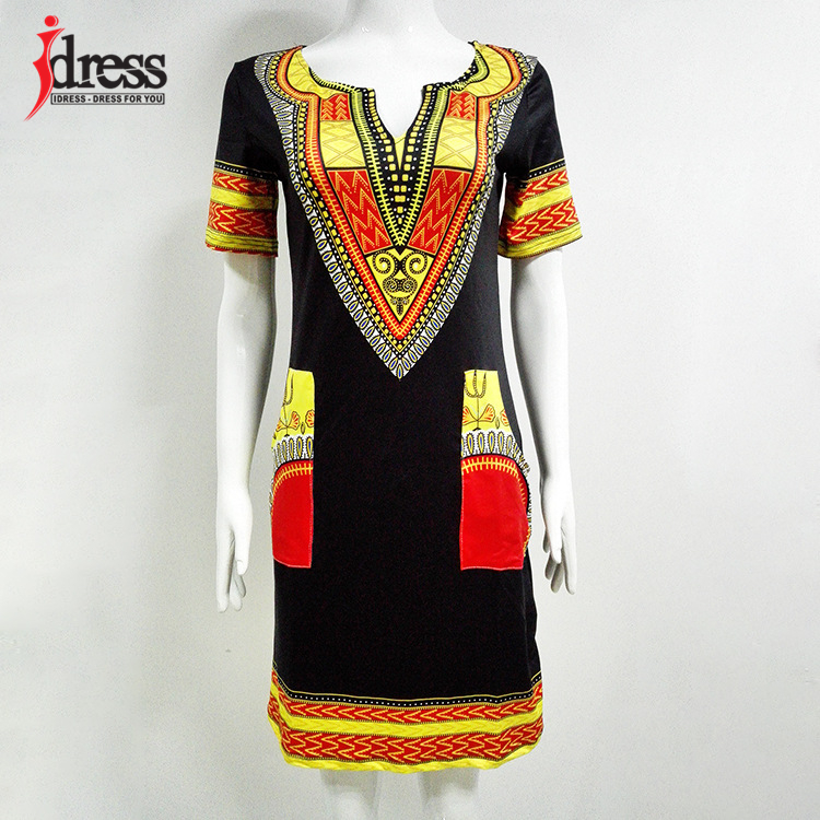 IDress S-XXXL Plus Size Sexy Casual Summer Dress Women Short Sleeve Party Dresses 2017 Black Vintage Traditional Printed Dresses (6)