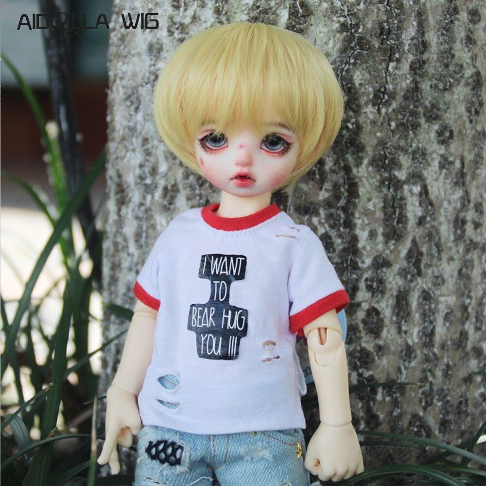 Hot Sale 1//3 SD  BJD Doll Wig 21.5-23.5cm Black //Gold Short Wig