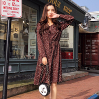 Spring New Fashion Knee length Casual Brown Women Dress Long Sleeve Dot V neck Dresses Woman