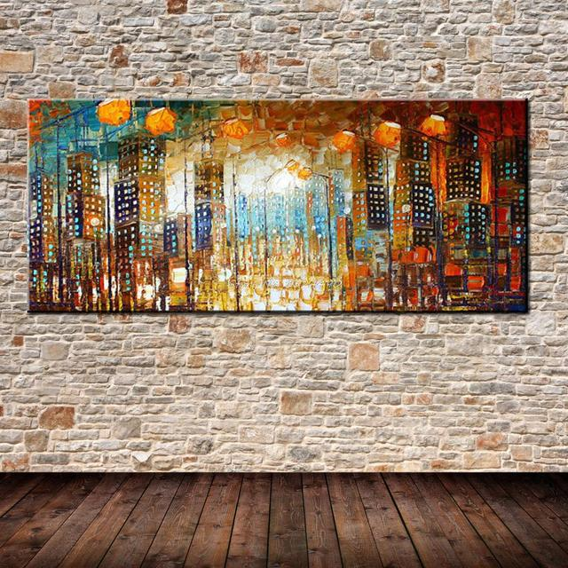 Hand Painted Palette Knife Abstract City Oil Painting On Canvas Modern Landscape Paintings Wall Art Picture Home Decoration