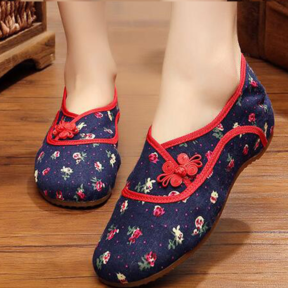 Chinese Vintage Old Beijing embroidered shoes national embroidered dance Single soft canvas cloth cotton flats shoes Size 34-41 plus size 41 fashion women shoes old elegant art party beijing mary jane flats with casual shoes chinese style embroidered clo