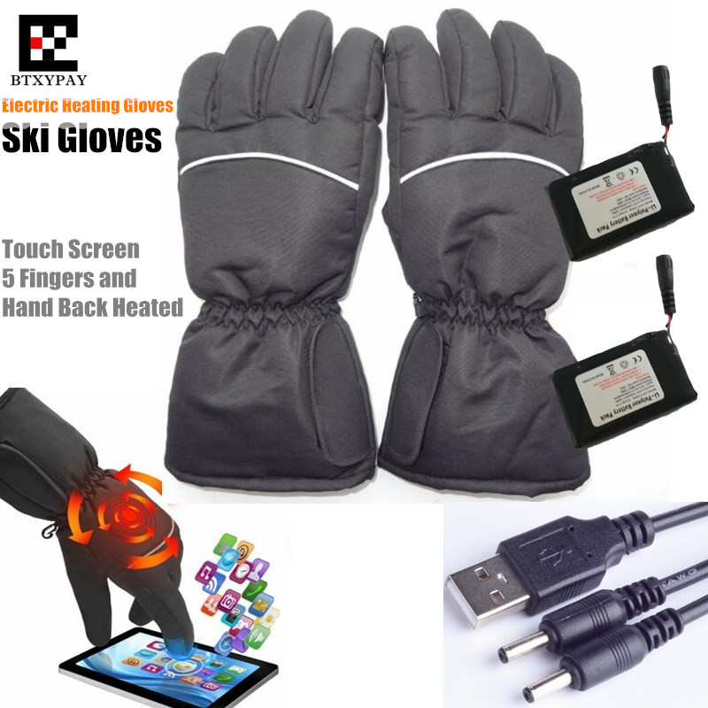 30p Outdoor Electric Heating Gloves Motor Hunting Winter Warm WaterProof Li-Battery Self Heated Touch Screen Cycling Ski Gloves