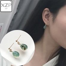 цены на XZP Natural Green Orange Stone Agates Waterdrop Earrings Handmade Drop Earrings Delicate Dangle Earrings For Women Charm Jewelry  в интернет-магазинах