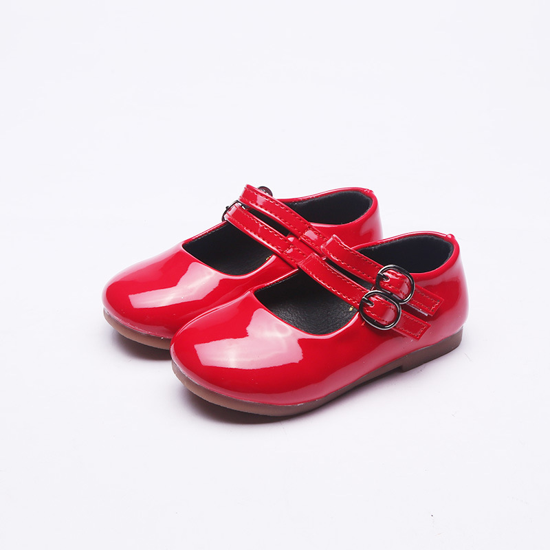Tenis Infantil 2018 New Girls Princess Shoes Double Metal Buckle Baby Girl Leather Shoes Red Black Kids Moccasins Size 21-25
