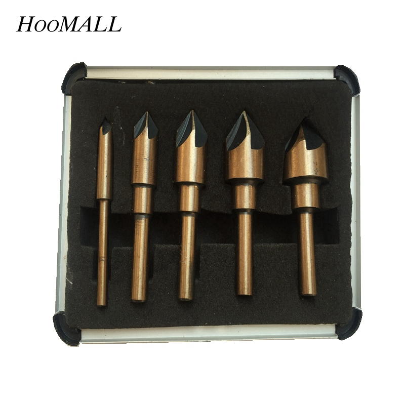 Hoomall 5PCs HSS High Speed Steel Hex Shank Chamfering Countersink 90 Degree Wood Cutter Chamfer Drill Bit Aluminum box free shipping of 1pc hss 6542 made cnc full grinded hss taper shank twist drill bit 11 175mm for steel