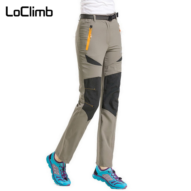 LoClimb Plus Size Stretch Camping Hiking Pants Women 2018 Spring Summer Outdoor Sport Trekking Cycling Waterproof Trousers AW021 in Hiking Pants from Sports Entertainment