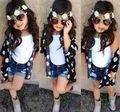 Retail 2016 Muchachas Del Verano Que Arropan la Flor de La Blusa + Chaleco + Denim Shorts Kids Baby Girl 3 unids Conjunto ropa de Los Niños trajes