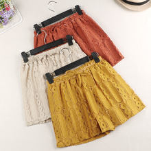 Summer Hot Lace Shorts Women Lace Up Elastic High Waist Wide Leg Shorts Feminino Beach Plus Size Short Femme Women Shorts C4352