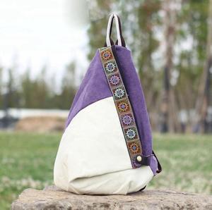 Image 2 - Nuovo stile nazionale di modo della tela di canapa zaino portatile borsa delle signore di sacchetto di spalla del Burlone borsa studente