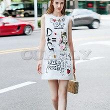 Cuerly High Quality Short Dress Runway Summer Women New Fashion Party Office Vintage Elegant Cat Print Sleeveless Vest Dresses