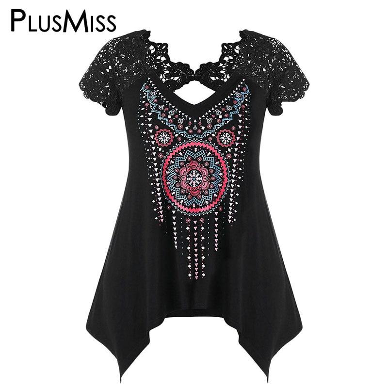 PlusMiss Plus La Taille 5XL 4XL Boho Ethnique Imprimer Dentelle Crochet manches Blouses Femmes Vêtements Grande Taille D'été 2018 Noir Lâche Tops
