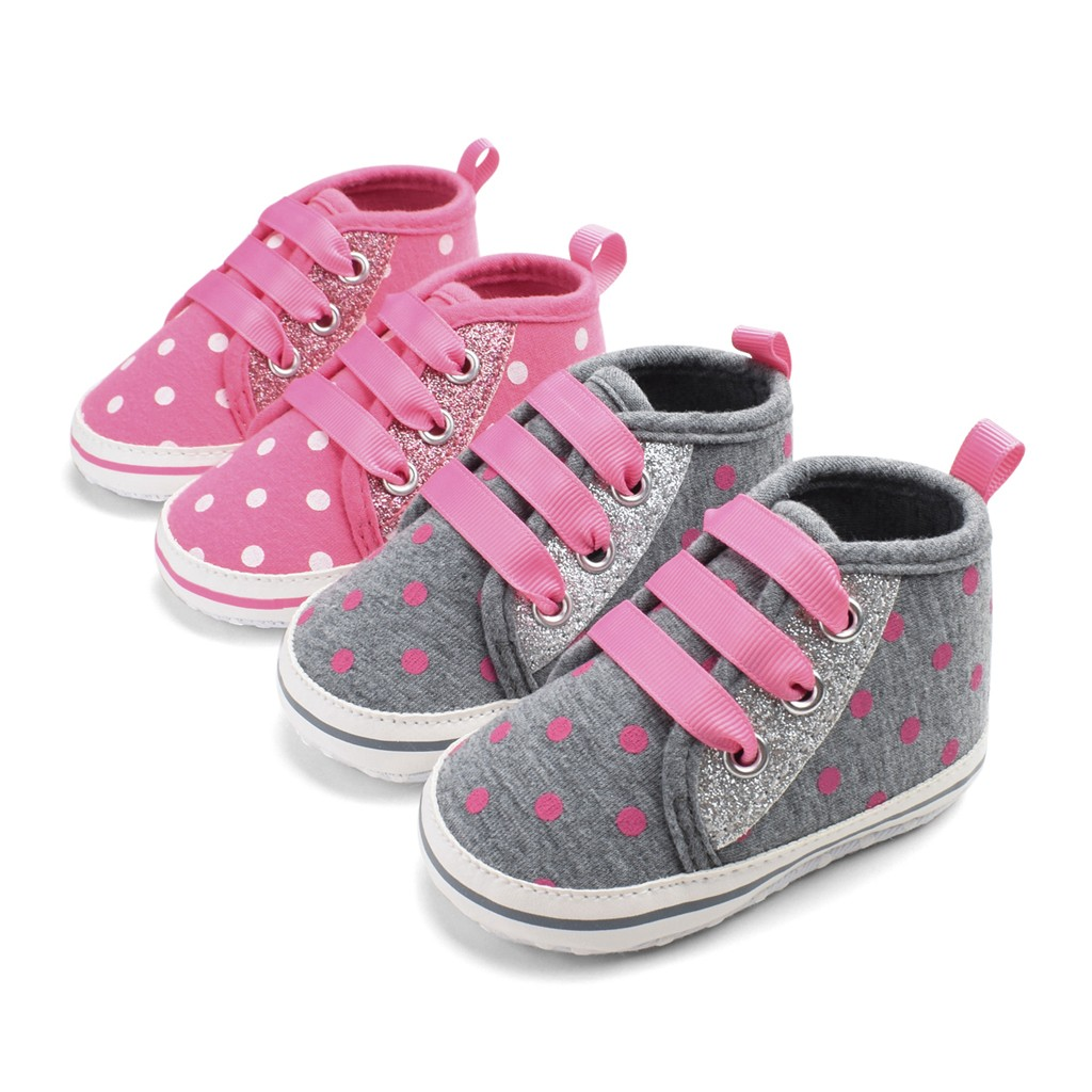 2019 Toddler Baby Girl Boy Baby Shoes First Walkers Spring Baby Fashion Casual Sequins Breathable Straps Spotted Toddler Shoes