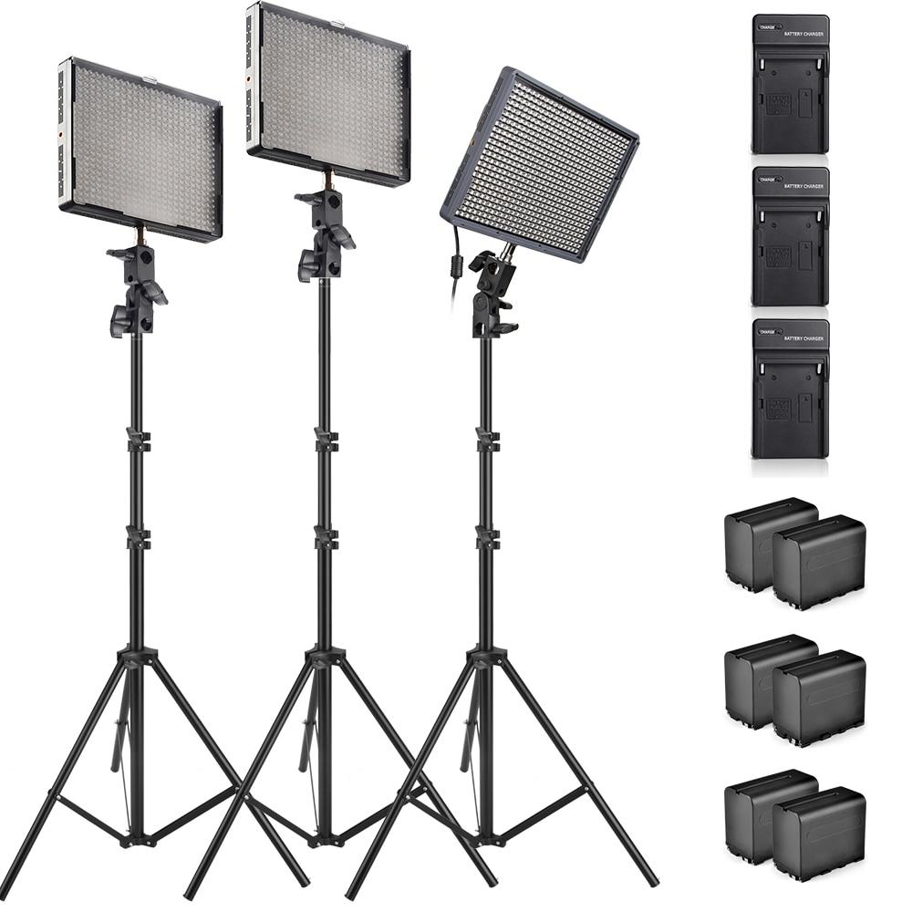Aputure Amaran 1pcs AL-528S+ 2pcs AL-528W High CRI95+ Led Video Studio Light +Battery Pack+Battery Charger + Light Stands