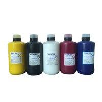 Textil Tinte (C M Y K)  Weiß textilien tinte  reinigung flüssigkeit  textil weiße tinte befestigungs mittel für Flachbettdrucker verwenden für T shirt|Tinten-Nachfüllkits|   -