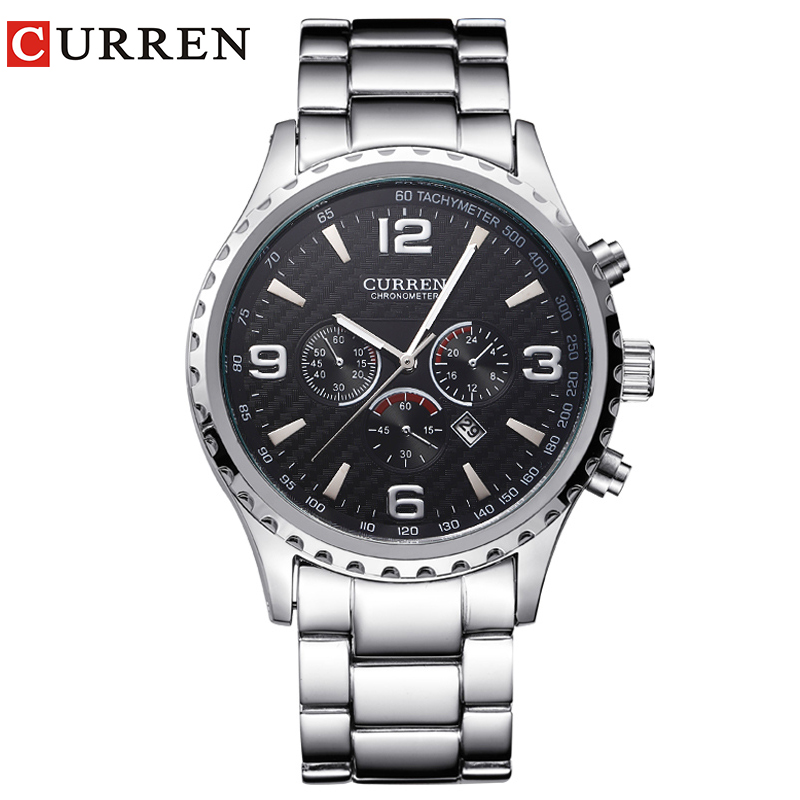 CURREN marque de luxe mode sport hommes montres décontracté militaire Quartz Montre-bracelet en acier pleine horloge Relogio Masculino Montre Homme