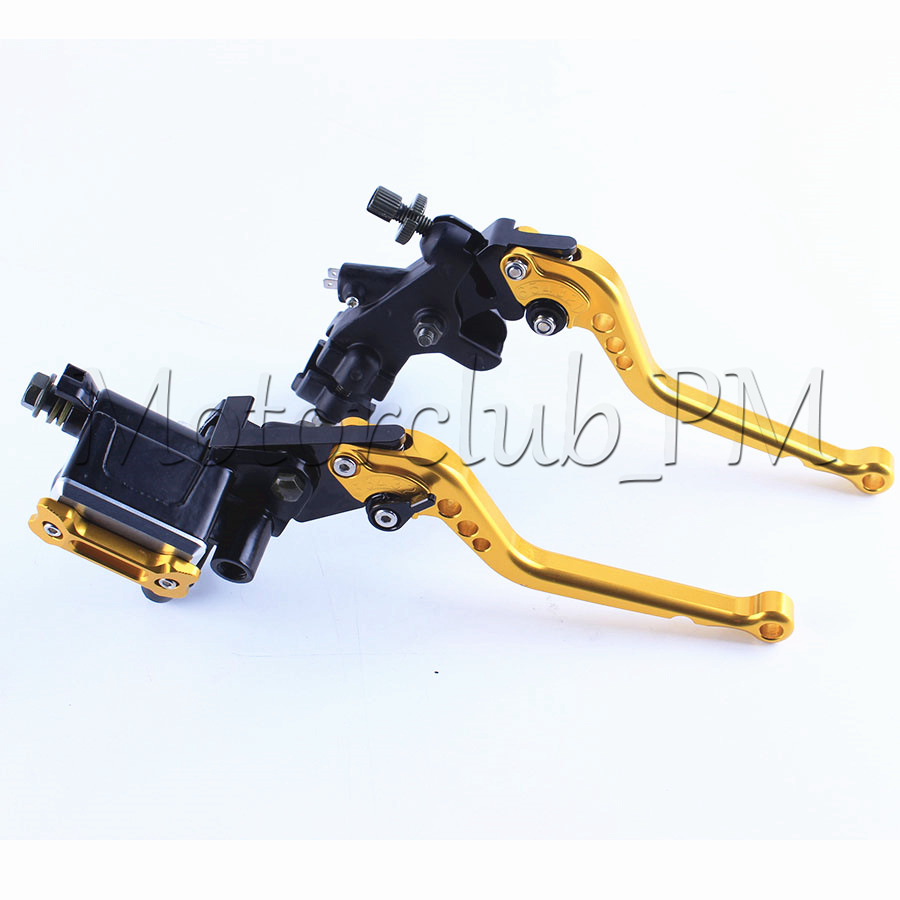 One Pair 7/8 22mm Motorcyle Front Clutch Brake Master Cylinder Reservoir Lever Aluminum Universal Gold (8 Colors for Option)