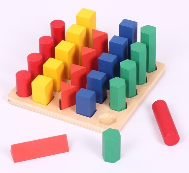 Candice guo! colorful educational wooden toy Montessori teaching ladder Sequence geometric blocks game 1 set 81pcs set assemblled gear block montessori educational toy plastic building blocks toy for children fun block board game toy