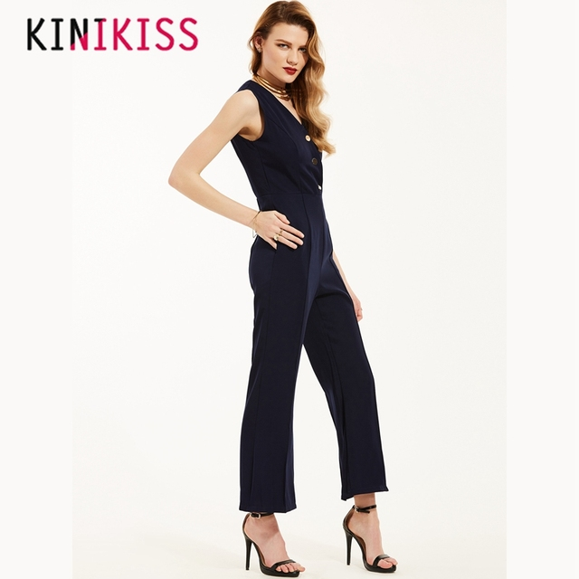 ae4674cb5579 Kinikiss Series New Urban Mature Jumpsuits Sleeveless Stitching Rivets  Women Top Pant Solid V-neck Office 2018 Spring Summer