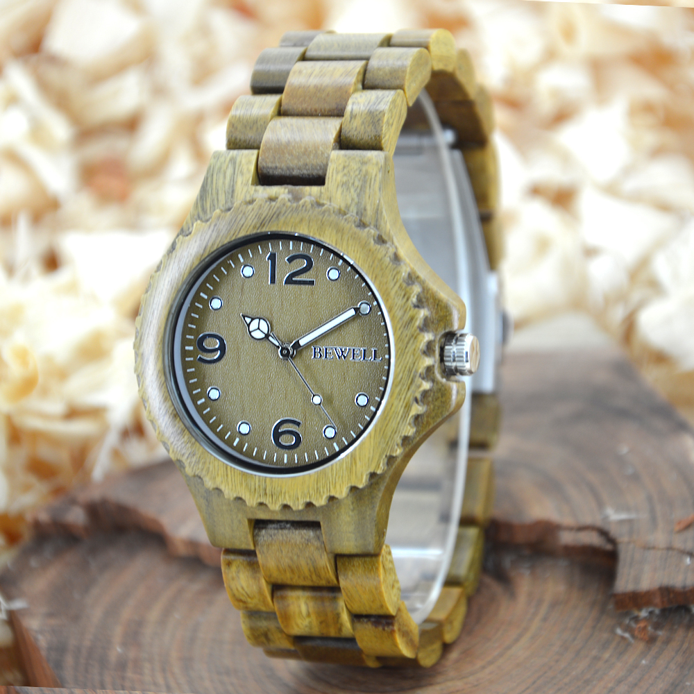BEWELL Couple Watches Wood Quartz Unique-Shape Women's Design And Fashion Brand Handmade