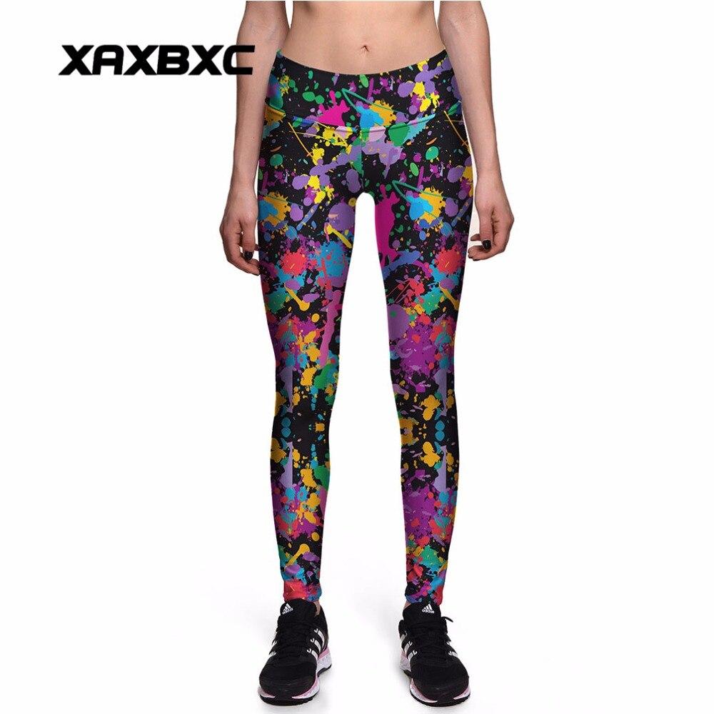 Xaxbxc 0105 Sexy Girl Gym Leggings Rainbow Oil Painting