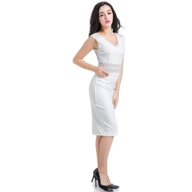 Online-Shop Frauen Elegante Sexy Kleider Weiß Tiefen V Sleeveless ...