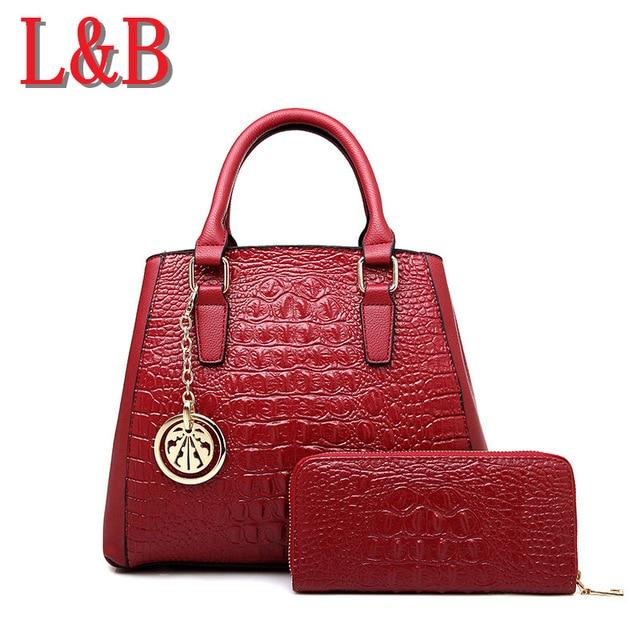 ФОТО 2017 crocodile pattern bag women messenger bags composite female versatile Handbags shoulder bag + Tote small Bags free shopping