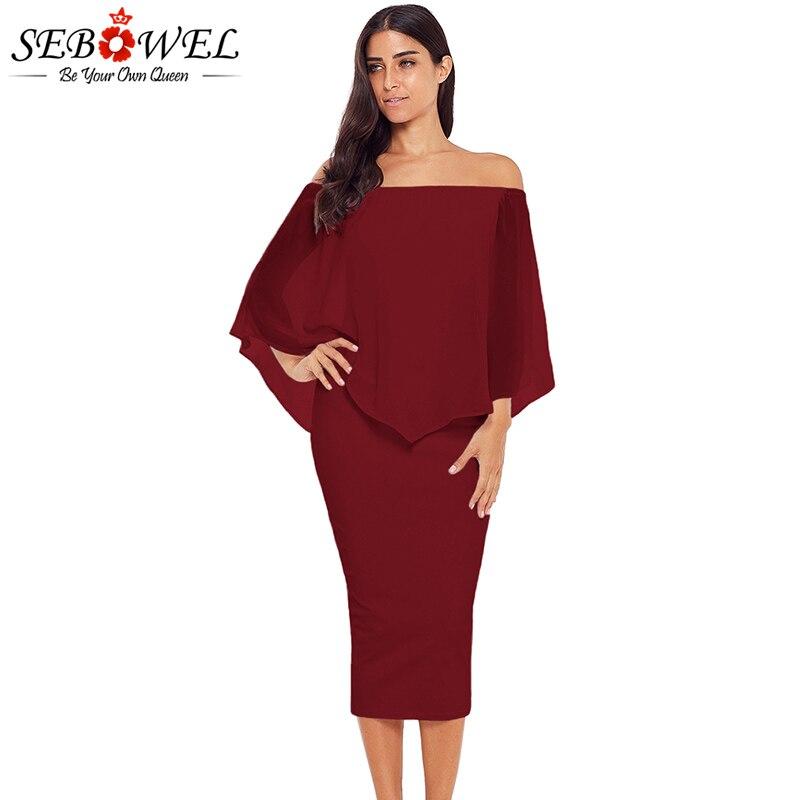 SEBOWEL Sexy Red Off Shoulder Bodycon Midi Party Dress Women 2018 Autumn  Elegant Long Dress Plus Size Office Lady Formal Dresses cd0935789319