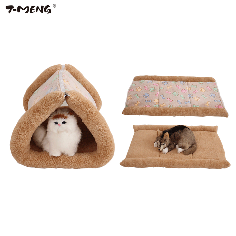 T-MENG 2 in 1 Pet Cat Bed Puppy House Soft Fleece Dog Blankets For Fall and Winter Warm Nest Kennel Chihuahua Mats 825
