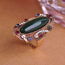 Green Big Size Ring 10 Austrian Crystal Vintage Rings For Women Party Antique Silver Plated Green Oval Stone Anel Turco Jewelry