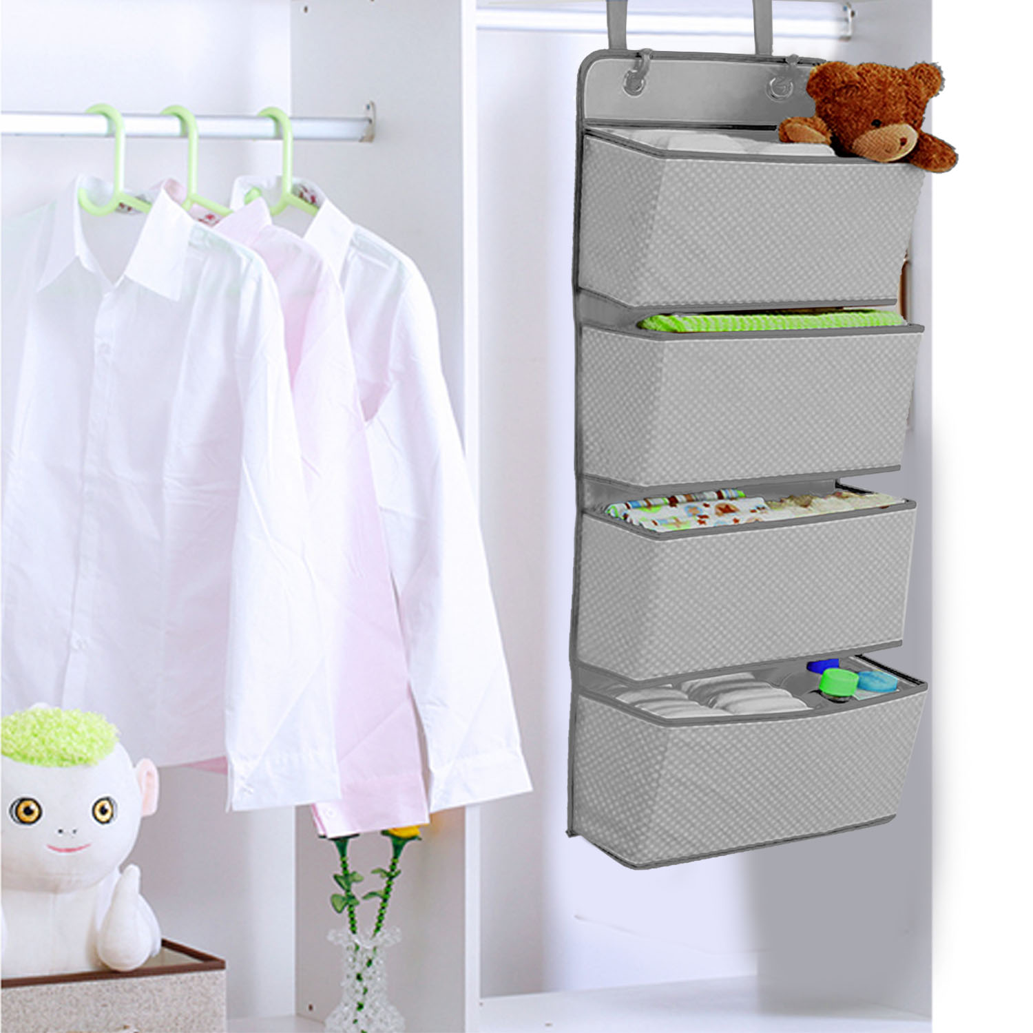 Simple Houseware 4 Pocket Hanging Wall Closet Storage Bag Organizer Over Door Cloth Toy Organizer Bag Pouch Hanger
