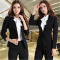 Autumn winter new women's fashion work wear long sleeve pants suits korean Ladies slim Temperament blazer Trousers set plus size