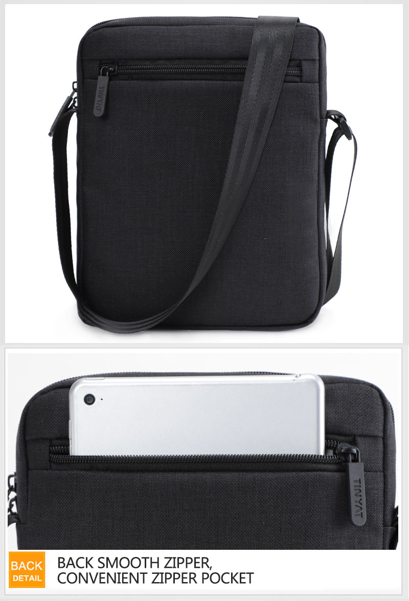 TINYAT Light Canvas Men's Shoulder Bag For 7.9' Ipad Casual Crossbody Bag Waterproof Business Shoulder bag for men 0.13kg 13