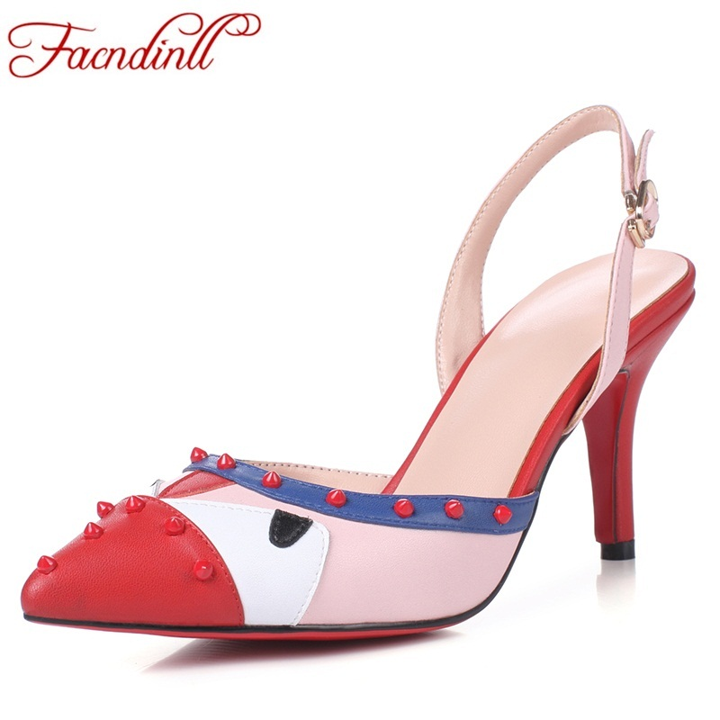 FACNDINLL brand design mixed color women dress shoes high heels fretwork sexy pointed toe leather sandals lady beach party shoes facndinll genuine leather sandals for