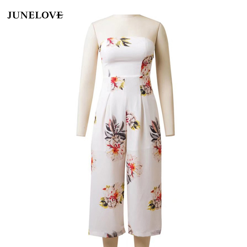 JuneLove 2018 summer floral printed chiffon women jumpsuits slashneck loose female rompers casual ladies playsuits