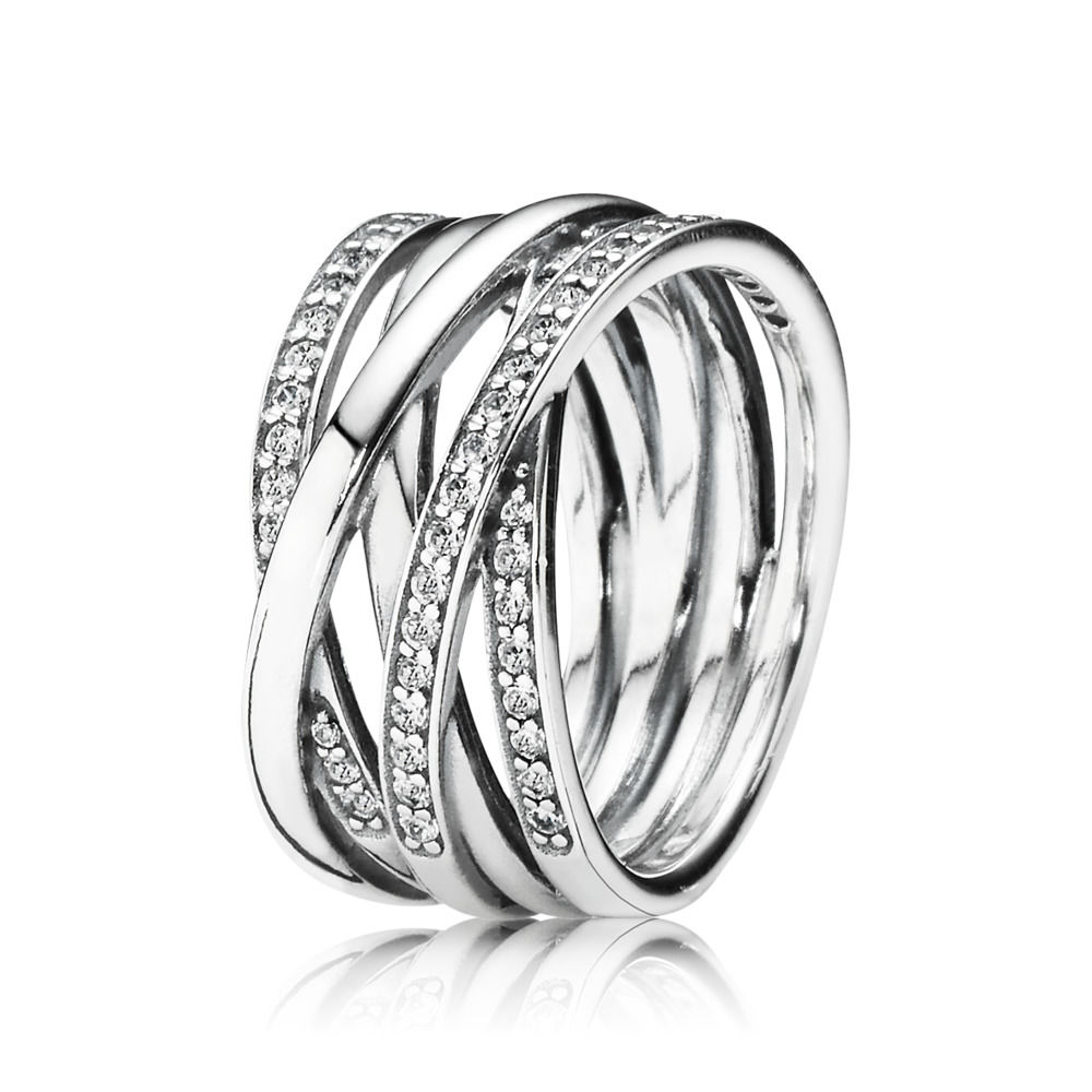 Authentic 100% 925 Sterling Silver Ring Openwork Eternity Entwine Crystal Rings For Women Wedding Party Gift Logo brand Jewelry
