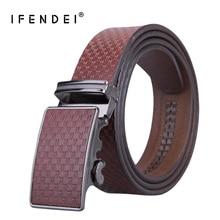 IFENDEI Cowhide Leather Belt Mens Automatic Buckle Waist Vintage Business Casual Belts For Men Brown Blue Plaid Ceinture
