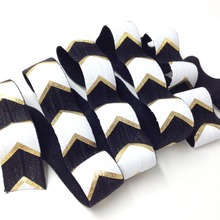 5 Yards 5/8 Black and White Gold Foil Printed Chevron Metallic Big Arrow FOE Hair Elastic Ribbon sewing accessories