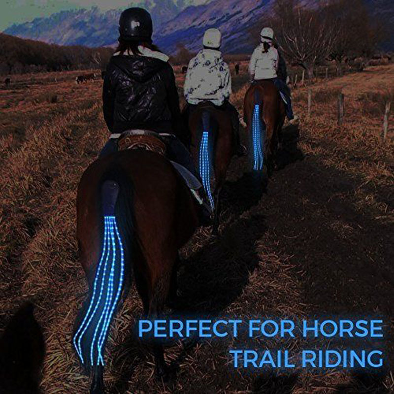 100cm Long LED Horse Riding Tails Decoration Luminous Tubes Horses Riding Equestrian Saddle Halters Horse Care Products adjustable pro safety equestrian horse riding vest eva padded body protector s m l xl xxl for men kids women camping hiking