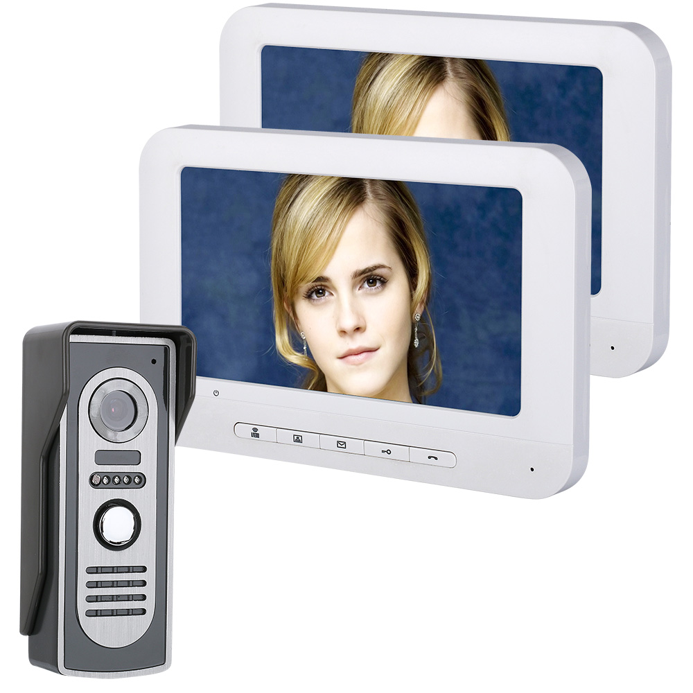 7 Inch TFT 2 Monitors Video Door Phone Doorbell Intercom Kit 1-camera 2-monitor Night Vision With HD 700TVL Camera