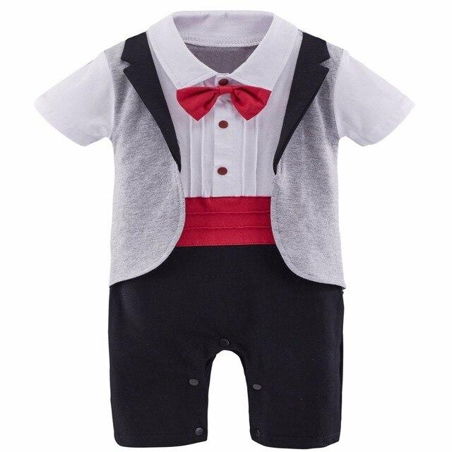 f48647877b3 Baby Boy Gentleman Romper Tuxedo Suit Red Belt Baby Wedding Suit With Bow Tie  Infant Short