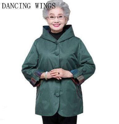 Spring Autumn Middle Age Women Jacket Coat Plus Size 5XL Casual Hooded Jacket Women Single-breasted Windbreaker