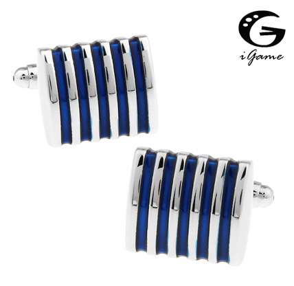 IGame 1 Pair Retail Men's Cuff Links 4 Colors Option Blue Red Black Pink Brass Fashion Stripes Business Design Free Shipping