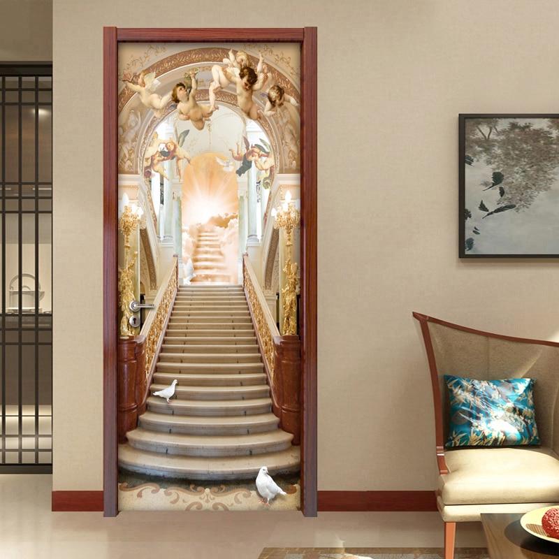 Angel Stairs European Style 3D Mural Wallpaper Hotel Living Room Bedroom Door Sticker Home Decoration PVC Vinyl Wallpaper Roll