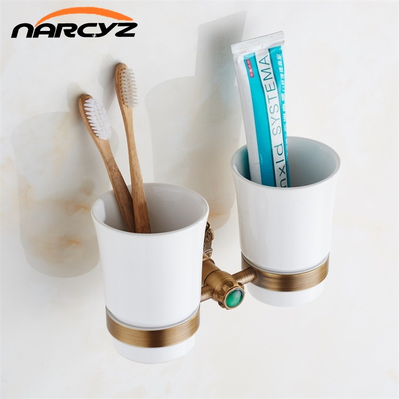 European Luxury European Style Antique Copper Toothbrush Tumbler Cup Holder With 2 Cups Wall Mounted Bath Product 9079K flg new modern accessories european style oil rubbed bronze copper toothbrush tumbler