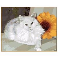 PHKV White Cat Frameless Pictures DIY Painting By Numbers Of Leopard Animals Oil Painting On Canvas