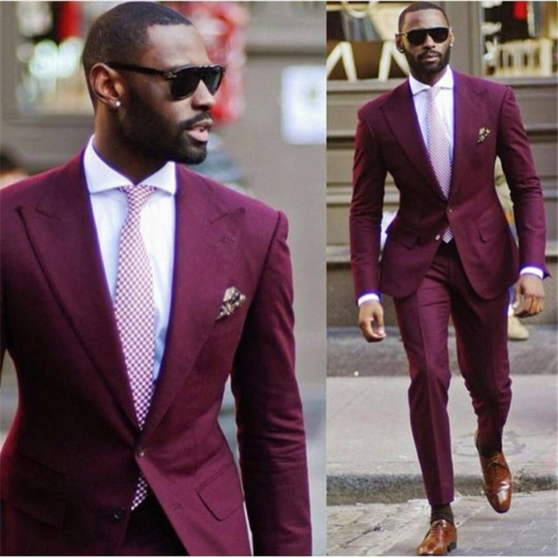 New Design Wedding Men Suits terno masculino burgundy Mens Suit Tuxedo 2 piece Slim Fit Prom smoking kingsman costume homme