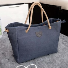 HOBBAGGO Fashion Women Handbag Solid Color Big Canvas Bag De