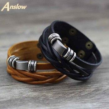 c35eb93d3307 Anslow marca 2 Color clásico Vintage pulsera de cuero Unisex de la joyería  pulsera declaración pulsera