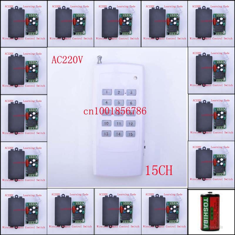 Wireless Remote Control Switch System15CH Each CH is Independent 10A Learning code Toggle/Momentary LED ON OFF POwer Switch 3ch wireless remote control switch system ac 85v 250v 30a learning code toggle momentary led on off wireless switch sku 5498