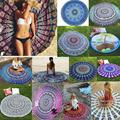 New Arrival Female Chiffon Round Beach Towel European Style Retro Peacock Tail Scarves Outdoor Picnic Blanket Beach Towel